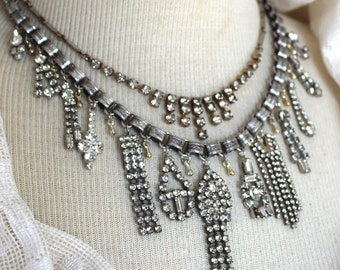 Statement Assemblage Necklace, Classic Bridal Rhinestone Statement Necklace, wedding, formal, antique, vintage, victorian, jewelry strand