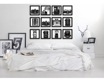 Gallery Wall Prints, Vintage Cameras, Photography Prints, Gallery Wall Set, Black and White, Home Decor, Wall Art, Wall Decor