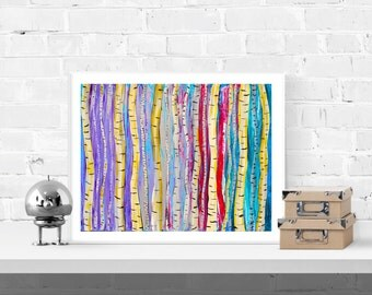 Birch Tree Art Print - Colourful Aspen Forest Giclee Print in Purple, Red, Teal, Turquoise, White, Yellow, Gold, and Blue