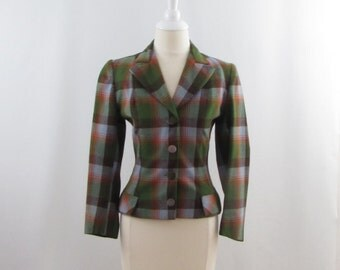 Autumn Plaid Wool Blazer - Vintage 1970s Womens Fitted British Blazer in Small