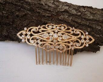 Gold Wedding Headpiece, Gold Bridal Hair Comb, Rhinestone Headpiece, Vintage Style Hair Comb, Bridal Hair Clip, Hair Vine