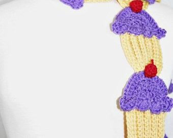 Lavender Cupcake Scarf- Women Scarf-Women Accessories-Neck Warmer-Kawaii-Crochet Scarf-Fairy kei-Harajuku-Geek-Christmas Gift-Cupcakes