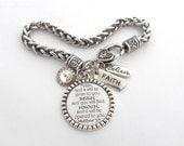 Scripture Jewelry, Bible Verse Bracelet, Prayer Jewelry, Encouragement Gift Faith Strength ASK SEEK KNOCK Matthew 7:7 Inspirational Bracelet