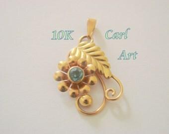 10K Gold Carl Art Aquamarine Pendant / Designer Signed / Rose Gold / 2.4 Grams / Retro / Antique / Vintage Jewelry / Jewellery