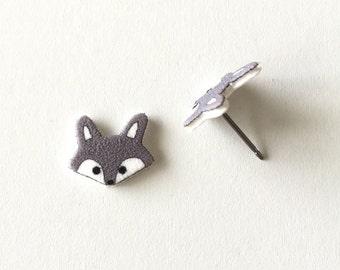 Dark Gray Wolf Earrings, Small Wolf Stud Earrings