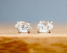 Herkimer Diamond Earrings - Raw Herkimer Diamond Post Stud earrings in Sterling Silver - Crystal Earring Studs - Rough Diamond Earrings