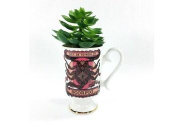 Royal Crown Zodiac Mug, Scorpio Mug, Scorpion Coffee Mug, Birthday Gift for Scorpio, Vintage Astrology Mug, Scorpio Gift, Footed Coffee Cup