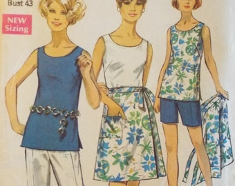 Simple to sew and simple to wear Jiffy wrap skirt, top and pants in two lengths Simplicity 8264 pattern uncut