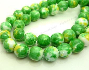 4mm Rain Flower Stone Ocean Jade Round Gemstone Beads - 15.5 Inch Strand - Lime Green, Yellow, White Beads - BG6