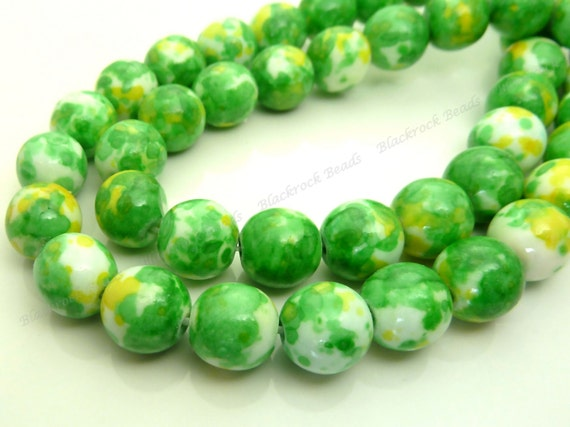 8mm Rain Flower Stone Ocean Jade Round Gemstone Beads