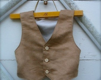 BOYS VEST Tan vest (faux suede) for boys, tan cowboy vest, tan faux suede, tan vest for boys (Sizes available for 3 year to 8 year old)