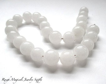 White Gemstones. 9mm - 10mm Snow Quartz Semi Precious Stones. Round White Beads 25 Pieces Snowy White Translucent Gemstone Beads DIY Jewelry