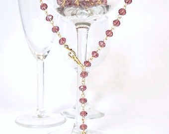 Purple Crystal with Gold Milagro Sacred Heart Rosary Style Adjustable Extra Long Necklace
