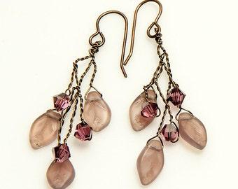 Light Amethyst Leaf Earrings with crystals, Purple Twig Earrings, Botanical Dangle Earrings, Rustic Wedding Earrings, Hostess Gift for Her