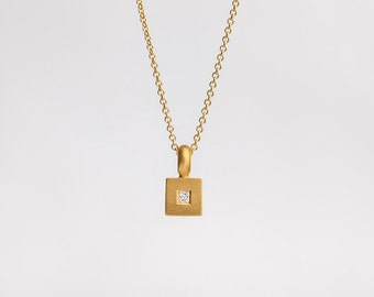 Delicate Diamond 22k Gold Pendant, Dainty Layered Solid Gold Necklace, Minimalist Simple Square Diamond Solitaire Bridal