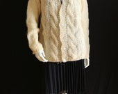 Chunky knit sweater Vintage off white mohair cardigan sweater Oversized hand knitted jacket Bohemian clothing Fuzzy sweater Wool cardigan
