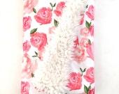 Baby Blanket Pink Peonies. The Cloud Blanket. Faux Fur Baby Blanket. Minky Baby Blanket. Pink Floral Baby Blanket.