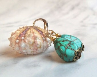 Turquoise earrings, December birthstone earrings December birthday gift, women's gift for girl, boho drop earrings, gemstone jewelry