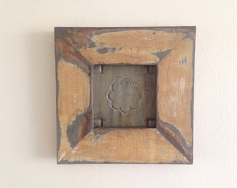 Framed Ceiling Tin Wall Decor Handmade with Reclaimed Wood