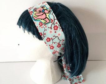 Grateful Dead Dancing Bear Cherry Blossom Headband - Upcycled Grateful Dead Headband - Festival Headband - Boho Chic - Jerry Garcia Headwrap