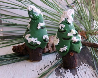 Snowy Fir Trees- polymer clay evergreen trees. ONE pine fir tree bead. rustic winter. wooden twig bead. woodland tree bead. Jettabugjewelry