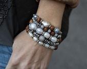 Stack Bracelets, Boho Bracelets, Stretch Bracelets, Set of Five, Pearl Bracelets, Hematite Bracelets, Beaded Bracelets, Stretchy Bracelets