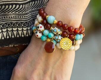 carnelian Bracelet, Turquoise Bracelet, Stretch Bracelet, Beaded Bracelet, Gemstone Bracelet, Stacking Bracelet, Layering Bracelet, BOHO