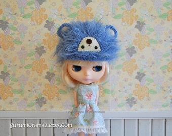 bear hat for blythe doll, crocheted kawaii fuzzy blue bear cap