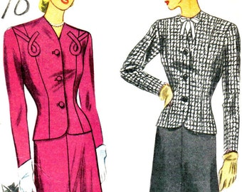 1940's Skirt Suit and Dickie Princess Seam Jacket Straight Skirt Simplicity 1284 Bust 42 Hip 45 PLUS SIZE