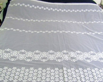 "Vintage White Lace Curtain Panels  (2)  73"" w x 65"" l"