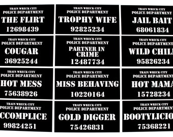 Bachelorette Party Mug Shot Signs - 12 Pc Photo Booth Sign Props