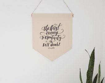 "Handmade Jordanne Marie ""Worst Enemy- Self Doubt"" Hand Lettered Wall Banner - Handmade Custom Wall Hanging - Sylvia Plath Wall Banner"