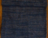 "Hand Woven Rag Rug - Small Denim with Blue Hemmed Edge - 21"" x 29"""