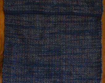 "Hand Woven Rag Rug - Small Denim with Blue Hemmed Edge - 21"" x 29"""