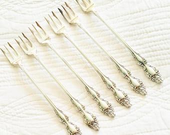 Vintage Romantic Home Rose Adorned Silver Seafood Forks, Set of Six, Olives and Doves