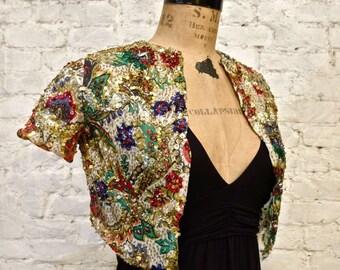 30s Beaded Silk Bolero Jacket - XS