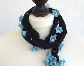 Boho Beaded Necklace, Silk Wrap Scarf, Black Silk Necklace, Blue Flower Necklace, Crochet Jewelry, Boho Necklace. Skinny Scarf, ReddApple