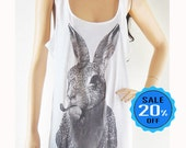 Rabbit Bunny Smart Cigar Rabbit tank top rabbit shirt women tank top white shirt sleeveless screen print size M