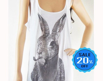 Rabbit Bunny Smart Cigar Rabbit tank top rabbit shirt graphic tank fashion tank women shirt for teen gift sleeveless screen print size M