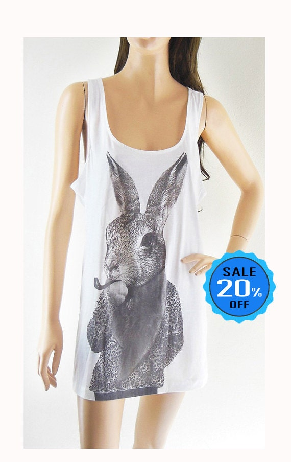 Rabbit Bunny Smart Cigar Rabbit tank top rabbit shirt graphic tank fashion tank women shirt for teen gift sleeveless screen print size M