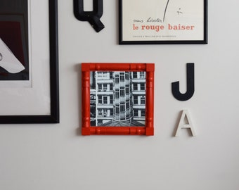 Vintage Refurbished Square Mirror Red Orange