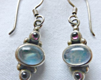 Petite Cabochon Ruby And Blue Moonstone Pierced Earrings Set In Sterling Silver