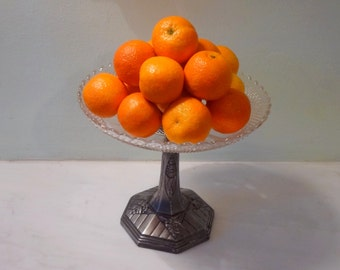 French Art Deco Silver Plate Fruit Bowl - Centerpiece Bowl with Glass Insert - Fantastic Deco Motifs and Details - 1920s-30s