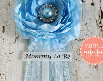 Blue Lace Baby Shower Corsage with Mommy to Be Grandma to Be Bride to Be and Custom Pins Badge Brooch