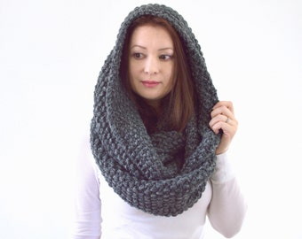 Large Knit Chunky Infinity Scarf Hood | The York