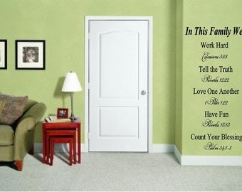 "In this Family-Bible verses to Live by-46""H x 23""W Vinyl Wall Decal-Wall Mural Lettering-Wedding House Warming Gift"