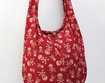 Women bag Handbags Cotton bag Skeleton Hippie Hobo bag Boho bag Shoulder bag Sling bag Messenger bag Tote bag Crossbody bag Purse Light Red
