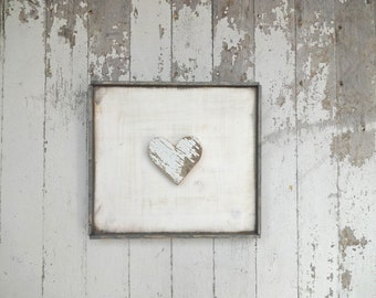 Rustic wooden heart white rustic wood sign