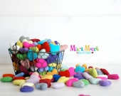 Mix and Match Felt Hearts - Wool Felt Hearts (3-4cm/30-40mm ) - Multi-color Garland Kit - Felted Hearts - Colorful Felt Hearts - You Choose