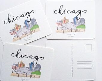 Chicago, Illinois Postcard (Cloud Gate  / The Bean)